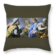 Abraham And The Three Angels Throw Pillow