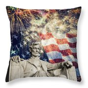 Abraham Lincoln Fireworks Throw Pillow