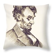 Abraham Lincoln Head Bowed  Drawing 1910 Throw Pillow