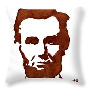 Abraham Lincoln Original Coffee Painting Throw Pillow