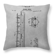 Abraham Lincoln Patent Drawing Throw Pillow