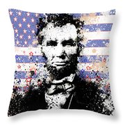 Abraham Lincoln Pop Art Splats Throw Pillow by Bekim Art