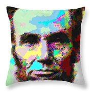 Abraham Lincoln Portrait - Abstract Throw Pillow
