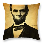 Abraham Lincoln Portrait And Signature Throw Pillow
