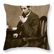 Abraham Lincoln Sitting At Desk Throw Pillow by Mathew Brady