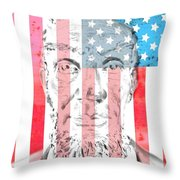 Abraham Lincoln Vintage American Flag Throw Pillow