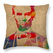 Abraham Lincoln Watercolor Portrait On Worn Distressed Canvas Throw Pillow