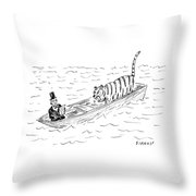 Abraham Lincoln With Tiger In Boat Throw Pillow
