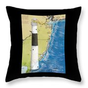 Absecon Lighthouse Nj Nautical Chart Map Art Cathy Peek Throw Pillow