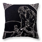 Absinthe Drinker After Picasso Throw Pillow
