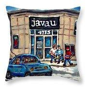 Montreal Art Exhibit At Java U Carole Spandau Montreal Street Scenes Paintings Hockey Art  Throw Pillow