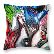 Abstract Apple Heart Throw Pillow