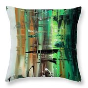 Abstract Art Colorful Original Painting Green Valley By Madart Throw Pillow