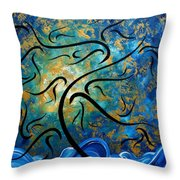 Abstract Art Gold Textured Original Tree Painting Peace And Desire By Madart Throw Pillow
