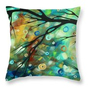 Abstract Art Landscape Circles Painting A Secret Place 2 By Madart Throw Pillow