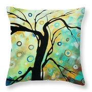 Abstract Art Landscape Circles Painting A Secret Place 3 By Madart Throw Pillow