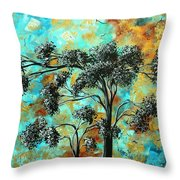 Abstract Art Landscape Metallic Gold Textured Painting Spring Blooms II By Madart Throw Pillow