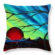 Abstract Art Landscape Seascape Bold Colorful Artwork Serenity By Madart Throw Pillow