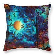 Abstract Art Landscape Tree Blossoms Sea Moon Painting Visionary Delight By Madart Throw Pillow