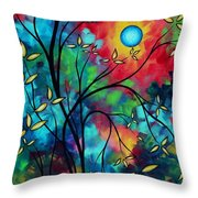 Abstract Art Landscape Tree Blossoms Sea Painting Under The Light Of The Moon II By Madart Throw Pillow