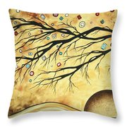 Abstract Art Metallic Gold Original Landscape Painting Colorful Diamond Jubilee By Madart Throw Pillow