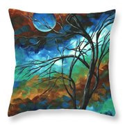 Abstract Art Original Colorful Painting Mystery Of The Moon By Madart Throw Pillow