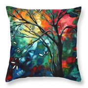 Abstract Art Original Colorful Painting Spring Blossoms By Madart Throw Pillow