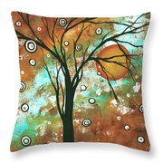 Abstract Art Original Landscape Painting Bold Circle Of Life Design Autumns Eve By Madart Throw Pillow