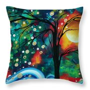 Abstract Art Original Landscape Painting Bold Circle Of Life Design Dance The Night Away By Madart Throw Pillow