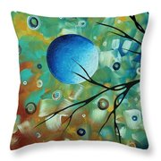 Abstract Art Original Landscape Painting Colorful Circles Morning Blues I By Madart Throw Pillow