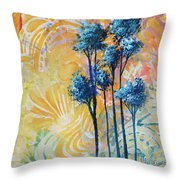 Abstract Art Original Landscape Painting Contemporary Design Blue Trees II By Madart Throw Pillow