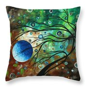 Abstract Art Original Landscape Painting Mint Julep By Madart Throw Pillow