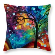 Abstract Art Original Painting Winter Cold By Madart Throw Pillow