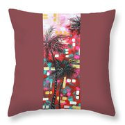 Abstract Art Original Tropical Landscape Painting Fun In The Tropics By Madart Throw Pillow by Megan Duncanson