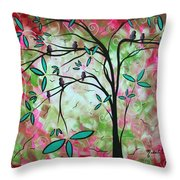 Abstract Art Original Whimsical Magical Bird Painting Through The Looking Glass  Throw Pillow
