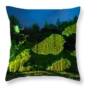 Abstract Art Projection Over Night Nature Scenery Throw Pillow