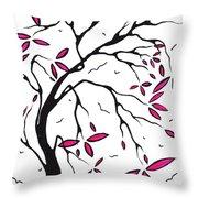 Abstract Artwork Modern Original Landscape Pink Blossom Tree Art Pink Foliage By Madart Throw Pillow by Megan Duncanson