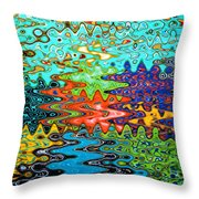 Abstract Background With Bright Colored Waves 1 Throw Pillow