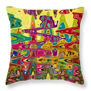 Abstract Background With Bright Colored Waves 5 Throw Pillow