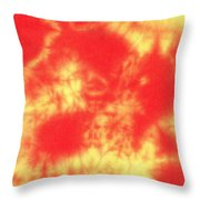 Abstract Batik In Yellow And Red Shades Throw Pillow