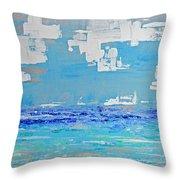 Silver Sky Beach Throw Pillow