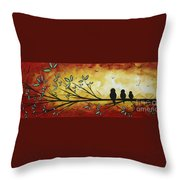 Abstract Bird Landscape Tree Blossoms Original Painting Family Of Three Throw Pillow