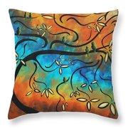 Abstract Bird Painting Original Art Madart Tree House Throw Pillow