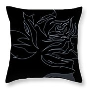 Abstract Black Rose  Throw Pillow