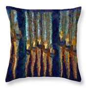 Abstract Blue And Gold Organ Pipes Throw Pillow