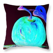 Abstract Blue And Teal Apple On Black Throw Pillow
