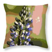 Abstract Blue Lupine Throw Pillow