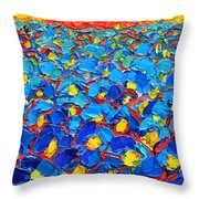 Abstract Blue Poppies In Sunrise -original Oil Painting Throw Pillow