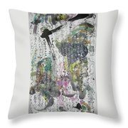Abstract Calligraphy Art Painting Black Pink Green Gray Art Spring Color Painting Rice Paper Art Sjk Throw Pillow