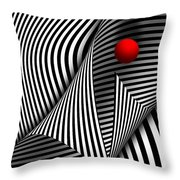 Abstract - Catch The Red Ball Throw Pillow by Mike Savad